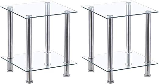 Glass Side Coffee//lamp Table 2 Clear Shelf Chrome Stylish Design Brand New