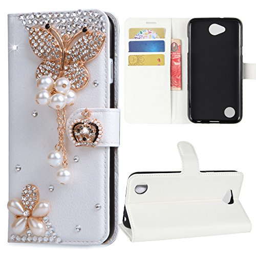 LG X Charge Case , LG Fiesta LTE Case , LG X Power 2 Case , LG K10 Power Case, Best Alice New DIY Design Flip PU Leather 3D Handmade Bling Crystal Diamond Wallet Case [Pear Butterfly]+ [White]