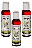 Dry Oil Coconut 3 pcs 4oz Moisturizes & Nourishes Body, Face & Hair – Non Greasy For Sale