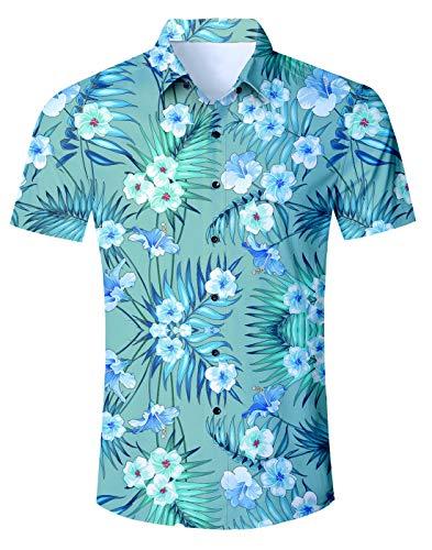 Fanient Juniors 3D Printed Hawaii Short Sleeve Button Down T-Shirt Cool Graphic Tee Shirts XL