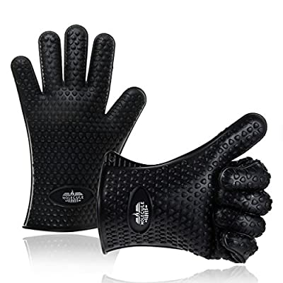 Molecule Gloves High Quality Silicone Gloves-Heat Resistant Grilling BBQ-New Protective Oven- Grill, Baking, Smoking and Cooking Gloves - Necessity for Every BBQ Fan - Five Finger Slots Cool Practical Cooking Tools & Accessories