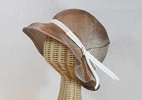 Straw Jane 20s Style Wide Brim Cloche Hat in Champagne by Bonnet