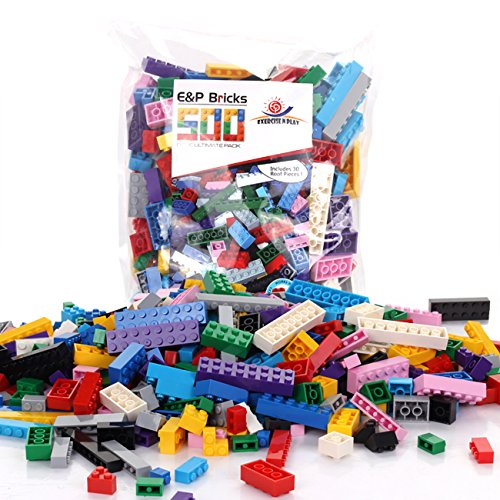 Building Bricks -Regular Colors 500 Pieces -Compatible with all Major Brand (Party City 2016 Halloween Costumes)