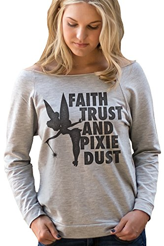 (Superluxe Clothing Womens Faith, Trust and Pixie Dust Tinkerbell French Terry Top, Heather Grey,)