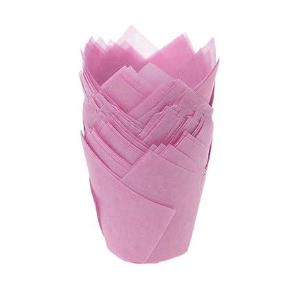Tandou - 50 piezas de papel para magdalenas, taza de magdalena, molde para pasteles