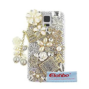 Elonbo TM Luxury 3D Bling Rhinestone Perfume Bottles&Pendant Design Hard Back Case Cover Skin For Samsung Galaxy S5 i9600+ Cleaning Cloth