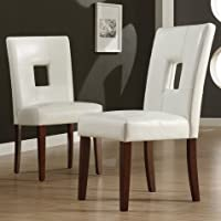 Overstock.com deals on 2 iNSPIRE Q Classic Alsace White Faux Leather Dining Chairs