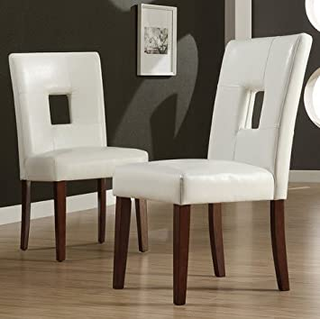 Amazoncom TRIBECCA HOME Alsace Modern White Faux Leather - Dining room side chairs