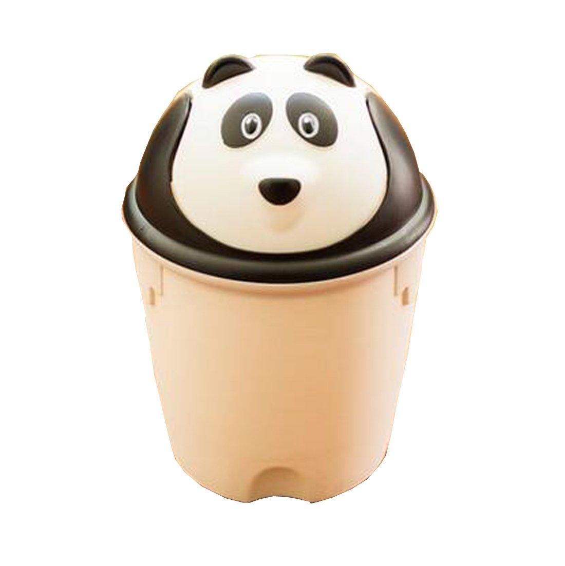 LAN-GO Plastic Animal Cartoon Swing Lid Table Desk Car Mini Trash Can Trash Bin (As description, White panda)