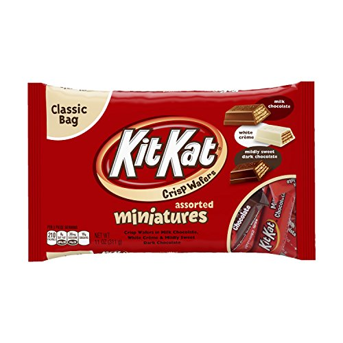 KIT KAT Assorted Chocolate Candy Bars (White, Milk, Dark), Miniatures, 11 Ounce (Pack of 4)