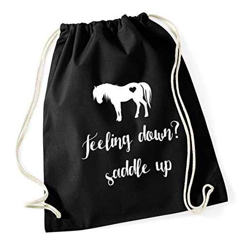46cm Feeling Saddle Black Drawstring HippoWarehouse School Kid litres Up Sack Bag x Gym down Cotton 12 37cm OqCBwdF