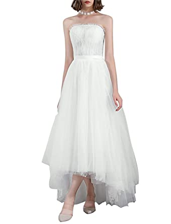 32400640b22 Wedding Dresses Beach Tulle Layers Hi lo Lace A line Bridal Gowns HFY250- Ivory-
