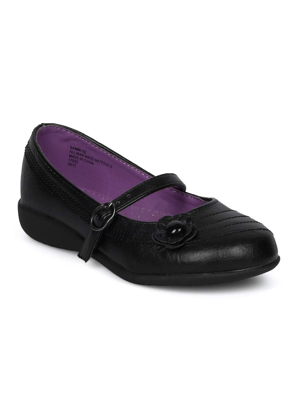 Schola Sammi-02 Girls Leatherette Round Toe Flower Applique Mary Jane Uniform Shoe HD42 - Black Leatherette (Size: Big Kid 3)