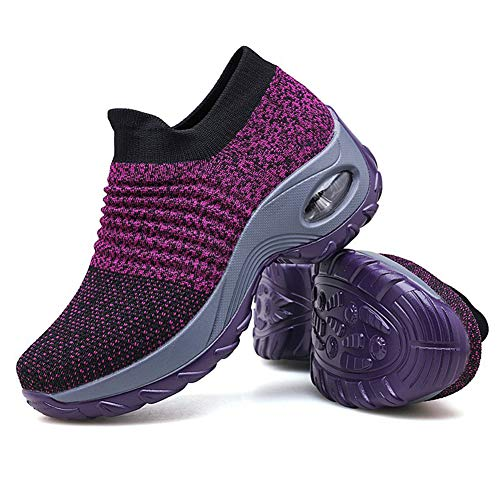 Ballroom Dress Fabric - Women's Walking Shoes Sock Sneakers - Mesh Slip On Air Cushion Lady Girls Modern Jazz Dance Easy Shoes Platform Loafers Purple,5
