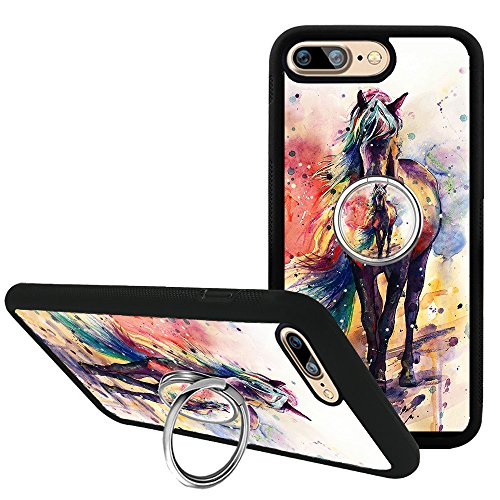 iPhone 7 Plus Case with Kickstand and Ring Holder, Watercolor Horse Case for iPhone 8 Plus, Customized TPU Bumper Silicone Protective Cover for iPhone 7 Plus/8 Plus 5.5 inch ()