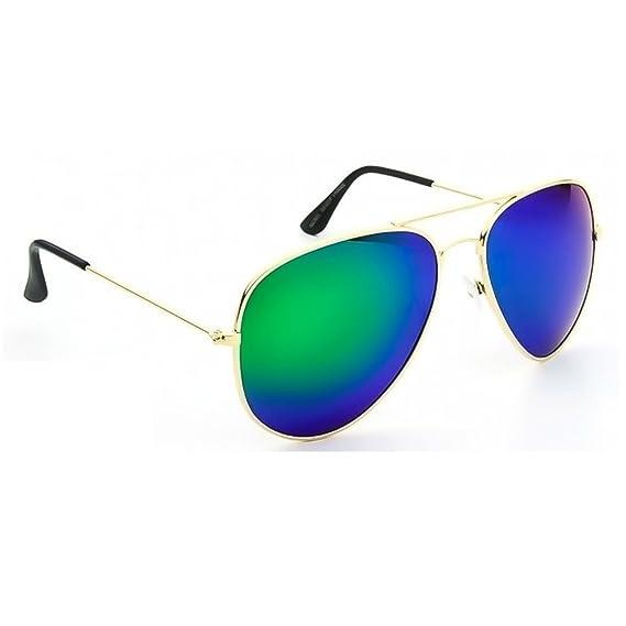 Mod de baiser de lunettes de soleil polarisées ®. Aviateur miroir arrière mâle femelle culte polarisé - OR / bleu 9WFeJsDQ12