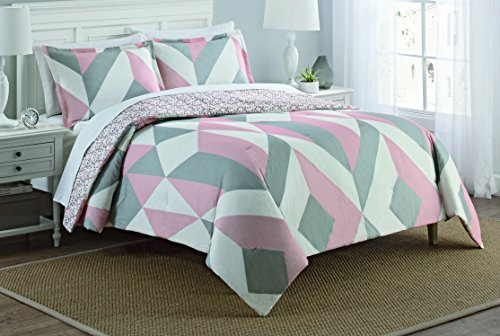 - Marble Hill 16216BEDDQUEPNK Lena 90-Inch by 90-Inch 3-Piece Reversible Queen Comforter Set, Pink