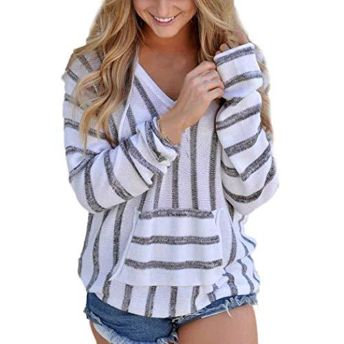 (Long Sleeve Womens Stripe Loose Blouse Casual Jumper Sweater Ladies Casual Knitwear Tops ❤️ ZYEE)