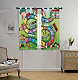 Cheap Stylish Window Curtains,Board Game,School Kids on Bus Playing in Garden Educational Games Library Toys Icons Print Decorative,Multicolor,2 Panel Set Window Drapes,for Living Room Bedroom Kitchen Cafe