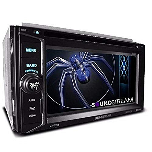 Soundstream VR-623B Built-in Bluetooth 6.2 Inch Touchscreen High Resolution TFT LCD Car CD DVD MP3 Receiver Hands Free Calls Audio Streaming USB AUX SD Card Inputs LED RGB Colors AM FM Radio Stereo