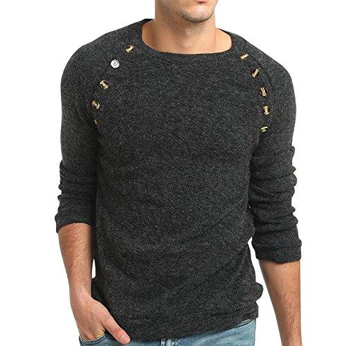 Realdo Mens Solid Sweatshirt, Autumn Winter Sweater Pullover Slim Jumper Knitwear Outwear Blouse(Dark Grey,Medium) -