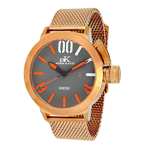 Adee Kaye Men's Mondo G4-Mesh 50.15mm Rose Gold-Tone Steel Bracelet & Case Quartz Watch AK7285-MRG-MESH