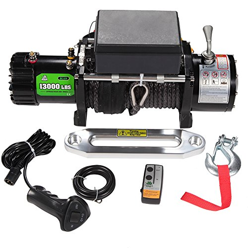 OFFROAD BOAR 12V 13000lb Synthetic Rope Truck Winch Automatic Load-Holding