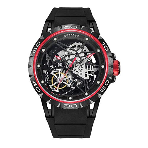 Huboler Tourbillon Watches Wrist Watches Skeleton Mechanical Stainless Steel  Executive Automatic Luxury Jewels Precise Movement for Men (RED Black) ()