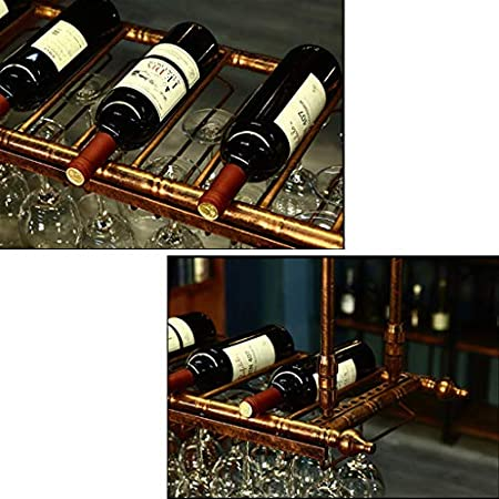 TTWUJIN Estante para Vinos, Bar, Restaurante, Estante para Copas de Vino, Estante para Restaurantes de Hierro Forjado para el Hogar Estante Colgante Soporte para Copas Retro Aplicación de Decoración