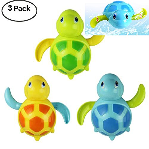 WedFeir 3pcs Bath Swimming Turtle Toy for Baby Toddler, Wind Up Chain Bathing Water Toy, Swimming Tub Bathtub Pool Cute Swimming Turtle Toys for Boys Girls. ()