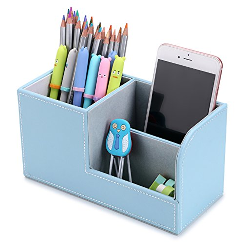 BTSKY Desk Pen Pencil Holder Leather Multi-Function Desk Stationery Organizer Storage Box Pen/Pencil, Cell Phone, Business Name Cards Remote Control Holder Office Home Accessories Organizer(Blue) ()