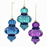 "Bundle Pack of 6, Kurt Adler 5"" Glass Finial Peacock Ornaments 3 Assorted"
