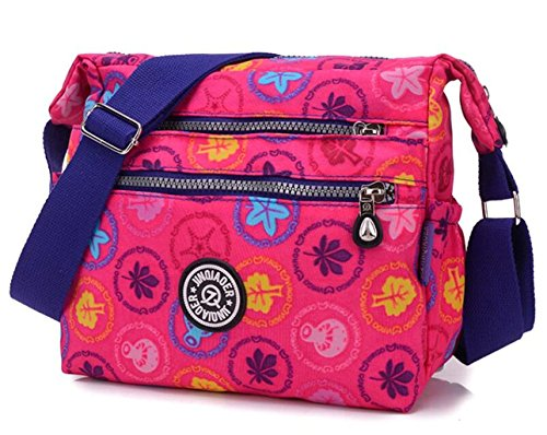 Bagtopia Women's Lightweight Casual Nylon Crossbody Shoulder Bag Waterproof Multi-Pockets Satchel (Bright Side Bag)