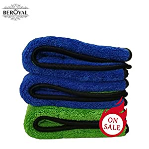 Professional quality microfiber towel, blue, super absorbent ultra thick 172g (16 x 24.)