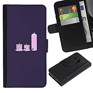 Samsung Galaxy S3 MINI 8190 (NOT S3) - Dibujo PU billetera de cuero Funda Case Caso de la piel de la bolsa protectora Para (Candle Light Dat E- Funny)