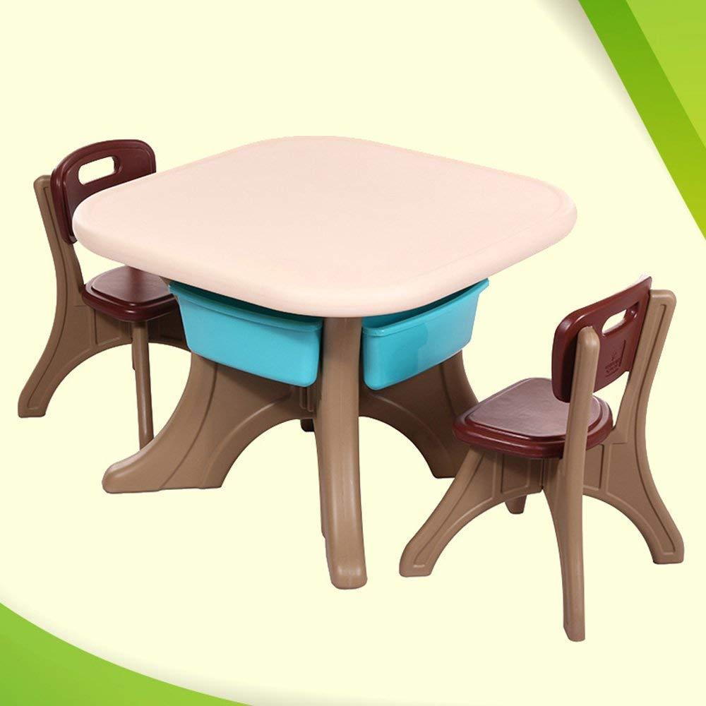 QTQZ Brisk - 勉強テーブルとチェアセット 子供のデスクライティングと図面デスク 子供部屋テーブルの組み合わせ プラスチックテーブル (色: コーヒー色 - 1椅子) QTQZ B07GJR4K97 Coffee Color-2 Chair