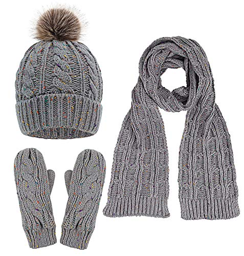 Mitten Piece Set 3 (Adult Men & Women's Pompom Beanie Hat, Scarf, Mittens 3 Piece Winter Set, Grey)