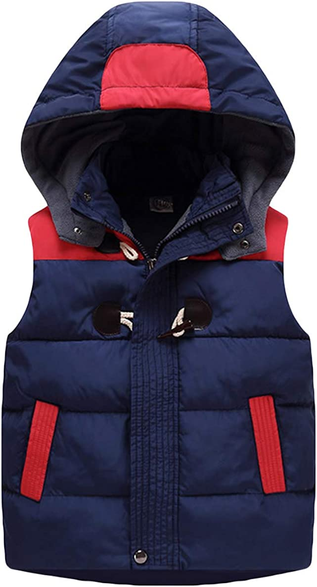 LAUSONS Kids Boys Quilted Gilet Winter Body Warmer Hooded Sleeveless Coat