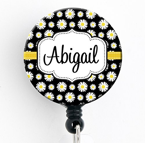 Retractable Badge Reel - Black Daisy - Personalized Name - Badge Holder (Daisy Badge Clip)