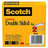 Office Products : Scotch Double Sided Long-Lasting Tape, No Mess, 1/2 x 1296 Inches, 3 Inch Core, 2 Rolls (665-2P12-36)