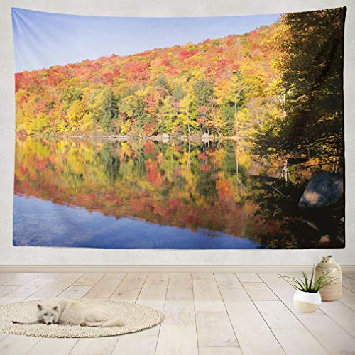 ASOCO Tapestry Wall Handing New England Autumn Trees Landscape Wall Tapestry for Bedroom Living Room Tablecloth Dorm 60X80 Inches