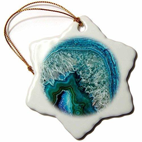 Christmas Ornament Uta Naumann Pattern - Luxury Aqua Blue Marble Agate Gem Mineral Stone - Snowflake Porcelain - Aqua Marble Pendant