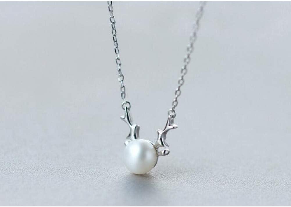 Colgante Pendientes Colgante de collar de la cadena del collar 925 de perlas cultivadas de agua dulce de plata de ley con la cornamenta del cuerno de ciervo regalo Sterling-plata-joyería pendiente