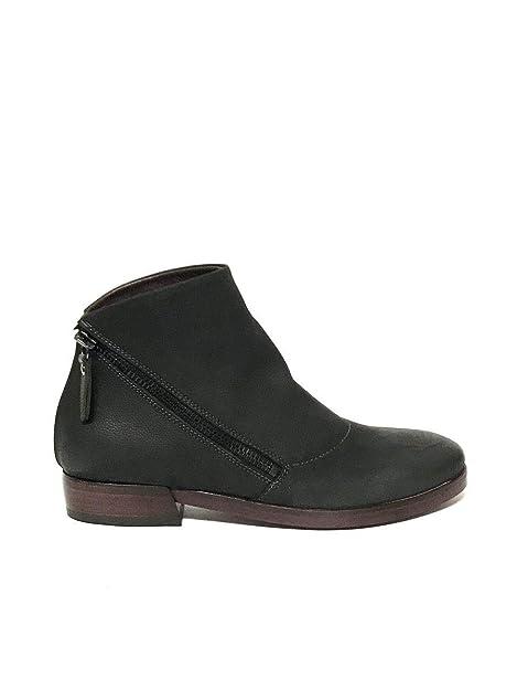 Botines de Tacon bajo para Mujer en Piel de Nobuk Lilimill Negra: MainApps: Amazon.es: Zapatos y complementos