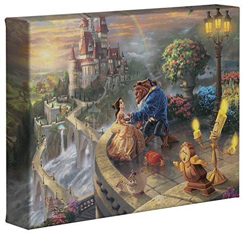 Thomas Kinkade Disney Beauty and the Beast Falling in Love 8 x 10 Gallery Wrapped Canvas (Thomas Kinkade Beauty And The Beast Painting)