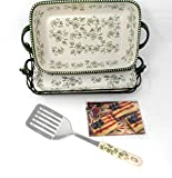 Temp-tations 11''x7'' 2.5 Quart Baker Complete Set, Plastic Cover, Spatula, Stoneware Tray, & Wire Basket (Floral Lace Green)