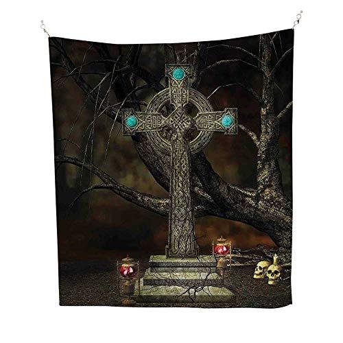 Gothic Decoroutdoor tapestryGothic Cross Tree Grave Skulls Tombstone Lanterns Graveyard Night Art 70W x 84L inch Ceiling Tapestry ()