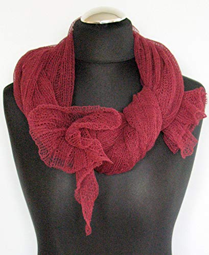 (Burgundy Linen Scarf Shawl Wrap Stole claret raspberry Light Transparent)