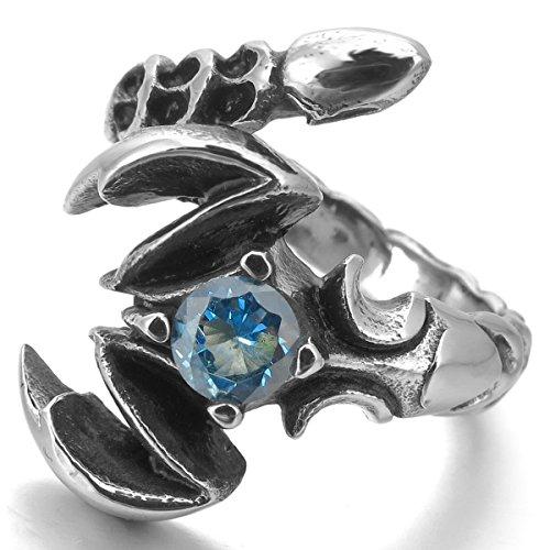 MunkiMix Acier Inoxydable Anneau Bague Zircon CZ Oxyde de Zirconium Ton d'Argent Bleu Scorpion Homme