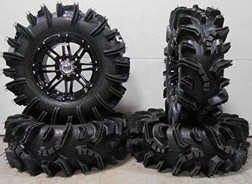 Bundle - 9 Items: STI HD3 14'' Wheels Black 29.5'' Terminator Tires [4x156 Bolt Pattern 3/8x24 Lug Kit] by Powersports Bundle
